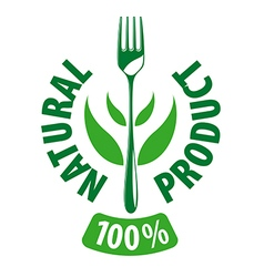 Logo fork and leaves for natural products vector