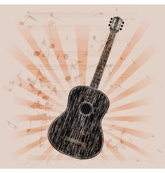 Musical background acoustic guitar vector