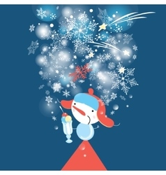 Beautiful snowman with snowflakes vector