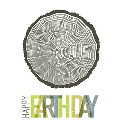 Happy earth day design concept tree rings symbolic vector