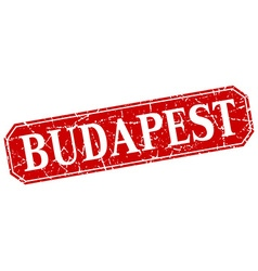Budapest red square grunge retro style sign vector