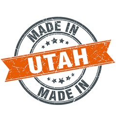 Utah orange grunge ribbon stamp on white vector