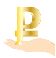 Sign rouble in palm vector