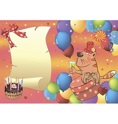 A cat and a glass of champagne postcard vector