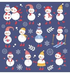 A cute snowmen seamless collection vector