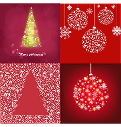 Abstract Christmas Cards Set vector image
