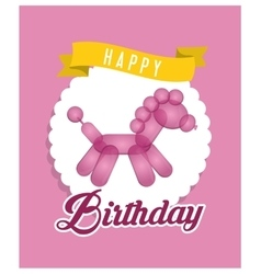Balloon horse ribbon happy birthday card pink vector