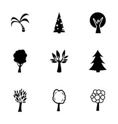 Black trees icons set vector