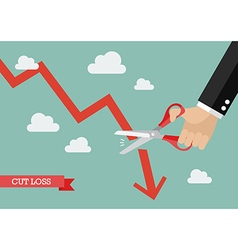 Business man cutting graph down vector