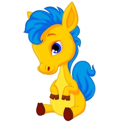 Cute horse cartoon vector image vector image