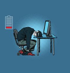 dead hacker skeleton at the computer vector image vector image