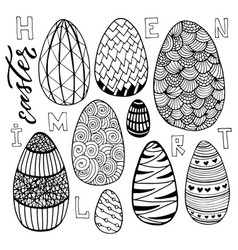 easter eggs set in doodle style holiday vector image vector image