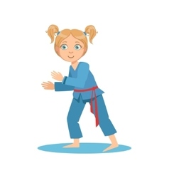 Girl in blue kimono fighting in sparring on karate vector
