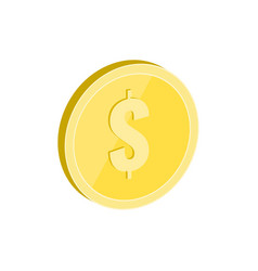 Gold coin symbol flat isometric icon or logo 3d vector