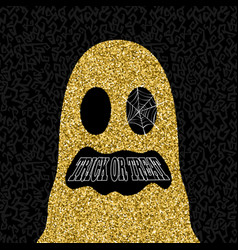gold halloween trick or treat ghost vector image