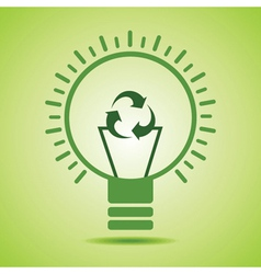 Green recycle icon make filament of an eco bulb vector image vector image