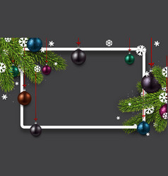 grey background with colorful christmas balls vector image vector image