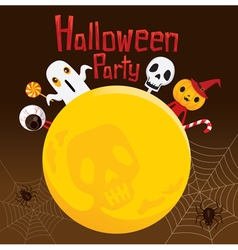 Halloween Ghost on Full Moon vector image
