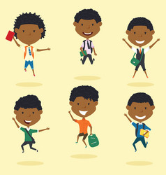 happy african american school boys jumping outdoor vector image