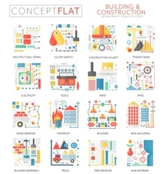 Infographics mini concept building construction vector image vector image