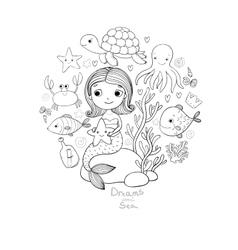 Marine set little cute cartoon vector