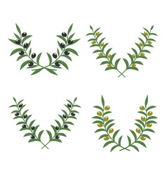 Olive branch wreaths isolated on white vector