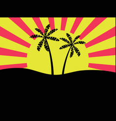 Palm trees against the background of the sun vector