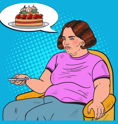 pop art fat woman watching tv with remote vector image vector image