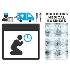 Pray clock calendar page icon with 1000 medical vector