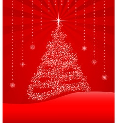 red background with christmas tree vector image vector image