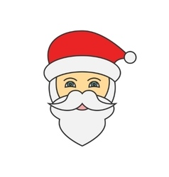 Santa claus face flat line icon vector
