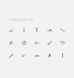 set of 15 editable equipment outline icons vector image