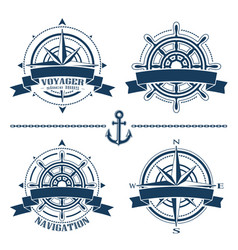 set of vintage nautical design elements vector image