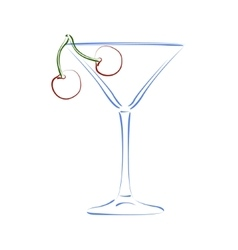Sketched glass of martini and cherry vector
