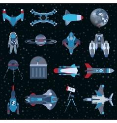 Spacecrafts flat icons equipment set cosmonaut vector