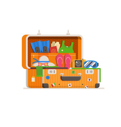 Travel suitcase full of things vector