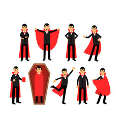 Vampire characters posing in different situations vector