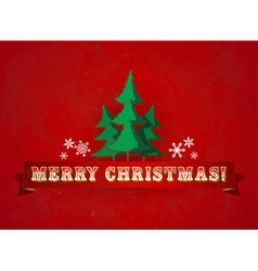 Vintage christmas greeting card with trees vector image