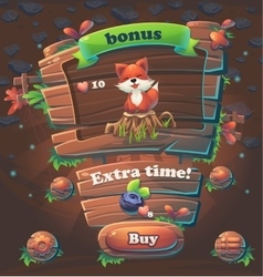 Wooden game user interface bonus window vector image
