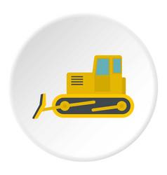 Yellow bulldozer icon circle vector