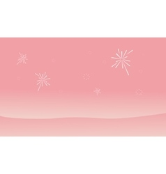 Silhouette of dessert and firework landscape vector