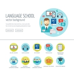 Foreign language learning web design concept for vector