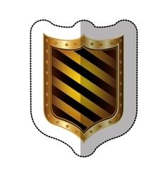 sticker golden emblem with colorful diagonal lines vector image