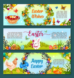 Easter egg hunt celebration cartoon banner set vector
