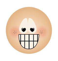 Human face emoticon crazy in love expression vector