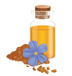 Flax oil seeds and flower vector
