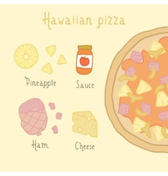Hawaiian pizza ingredients vector