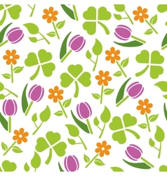 Spring plants seamless pattern vector