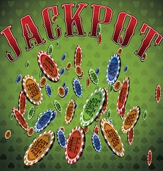 Poker chips many falling green background text vector