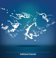 Doodle map of falkland islands vector